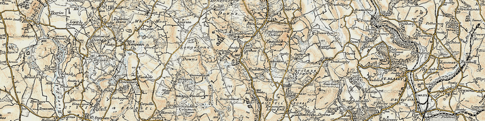 Old map of Carthew in 1900