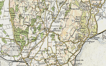 Old map of Cartmel in 1903-1904
