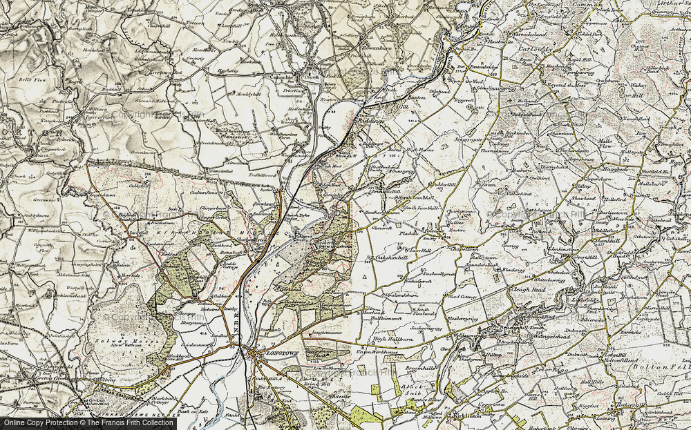 Old Map of Historic Map covering Todhillwood in 1901-1904