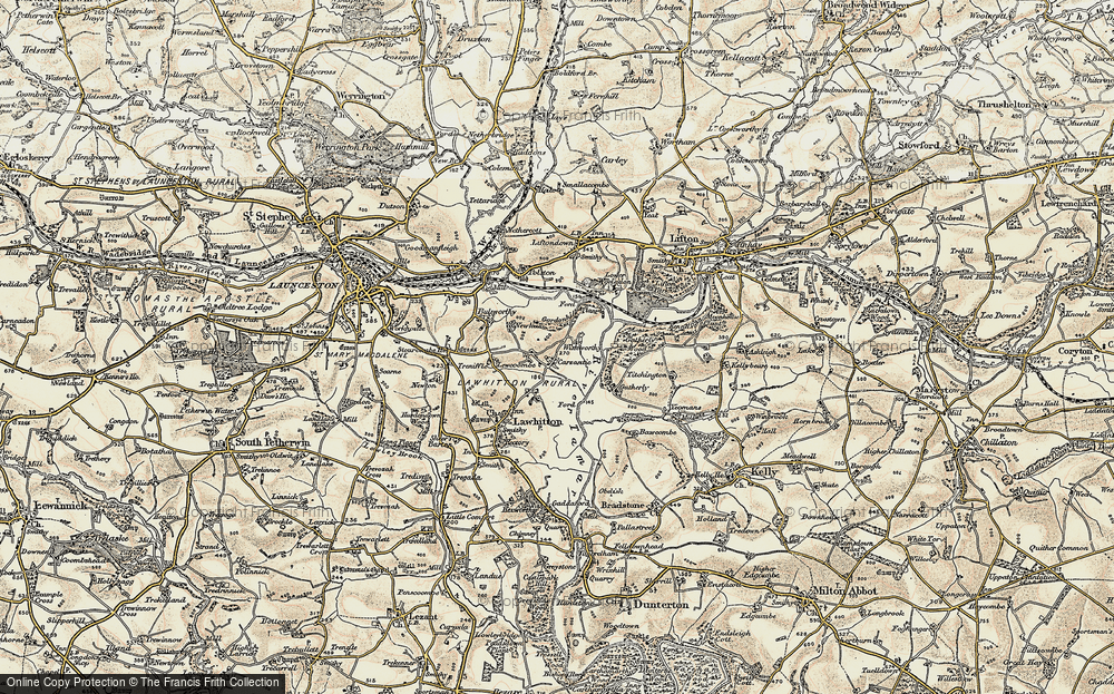 Old Map of Historic Map covering Lewcoombe in 1899-1900
