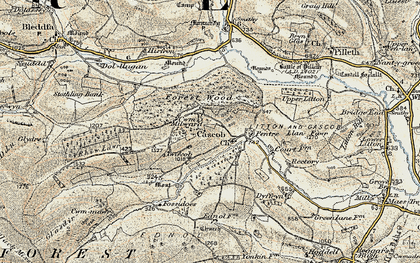 Old map of Cascob in 1901-1903