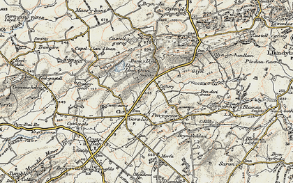 Old map of Castell-y-rhingyll in 1900-1901
