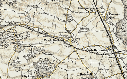 Old map of Castle Bytham in 1901-1903