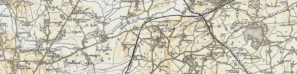 Old map of Castle Cary in 1899