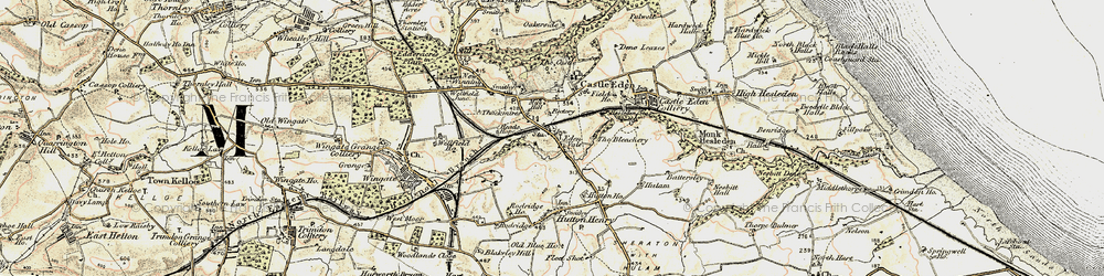 Old map of Castle Eden in 1901-1904