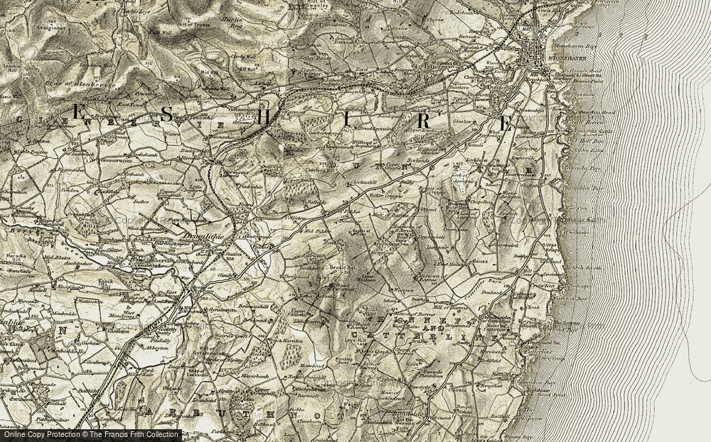 Old Map of Historic Map covering Wood of Fallside in 1908-1909