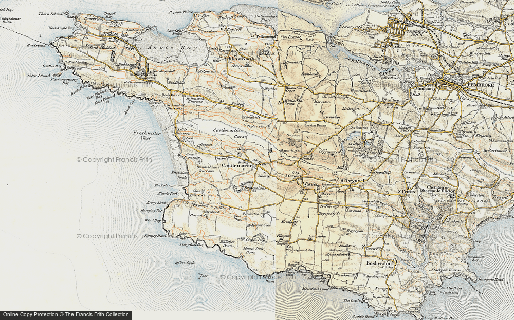 Old Map of Historic Map covering Linney Burrows in 1901-1912
