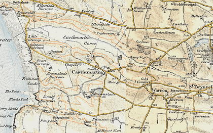 Old map of Castlemartin in 1901-1912
