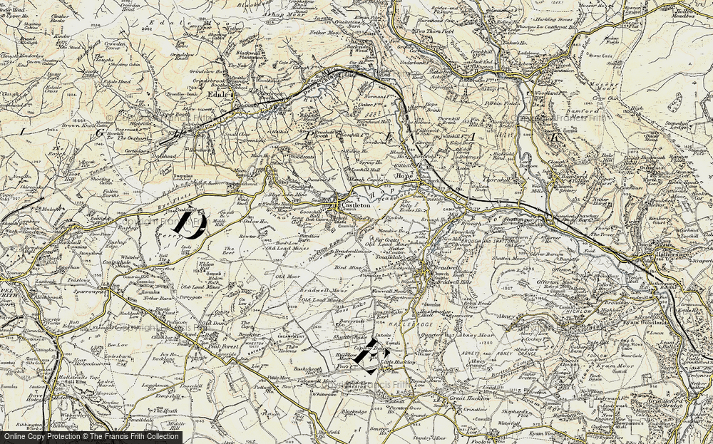 Old Map of Historic Map covering Limestone Way in 1902-1903