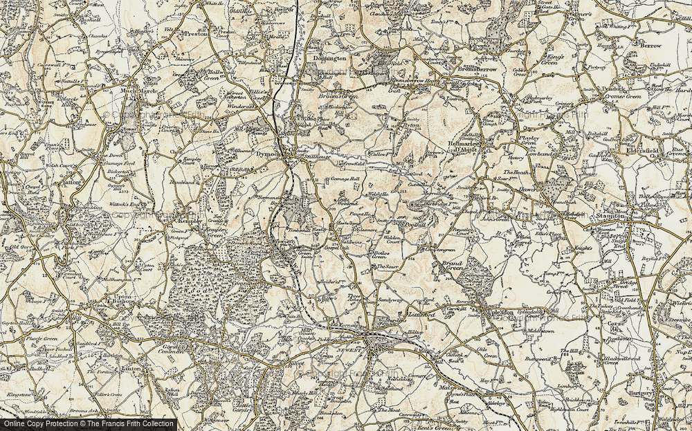 Old Map of Historic Map covering Aylesmore in 1899-1900