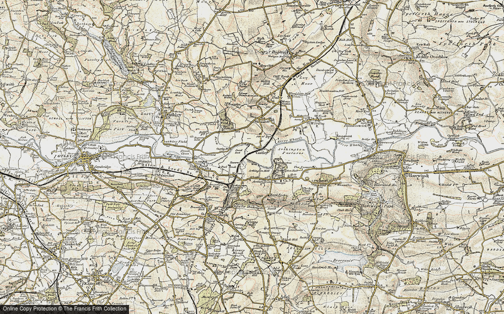 Old Map of Historic Map covering Arthington Ho in 1903-1904