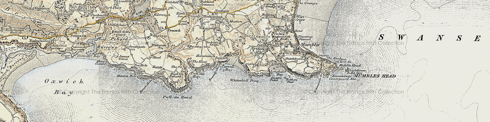 Old map of Caswell Bay in 1900-1901