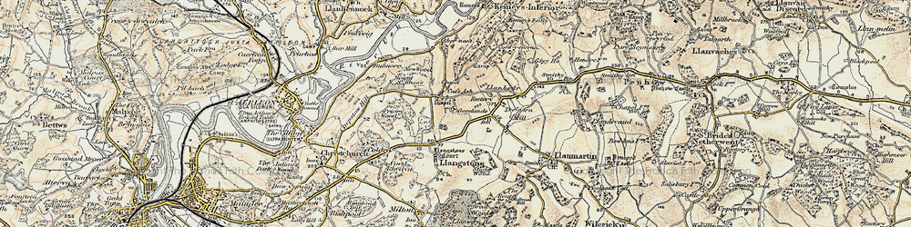 Old map of Cat's Ash in 1899-1900