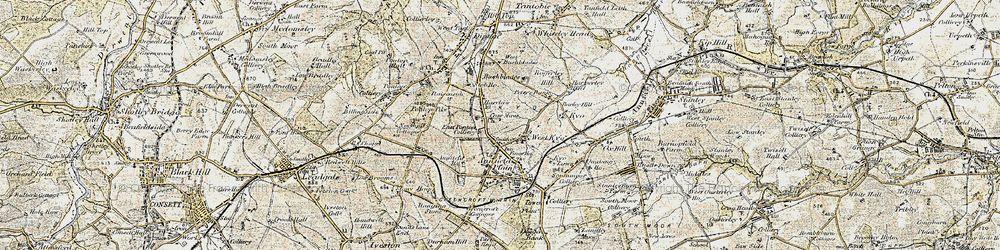 Old map of Catchgate in 1901-1904