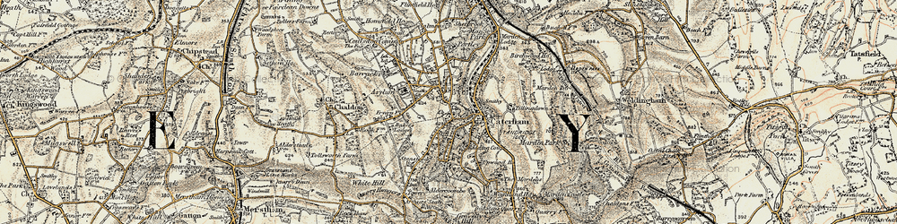 Old map of Caterham in 1897-1902