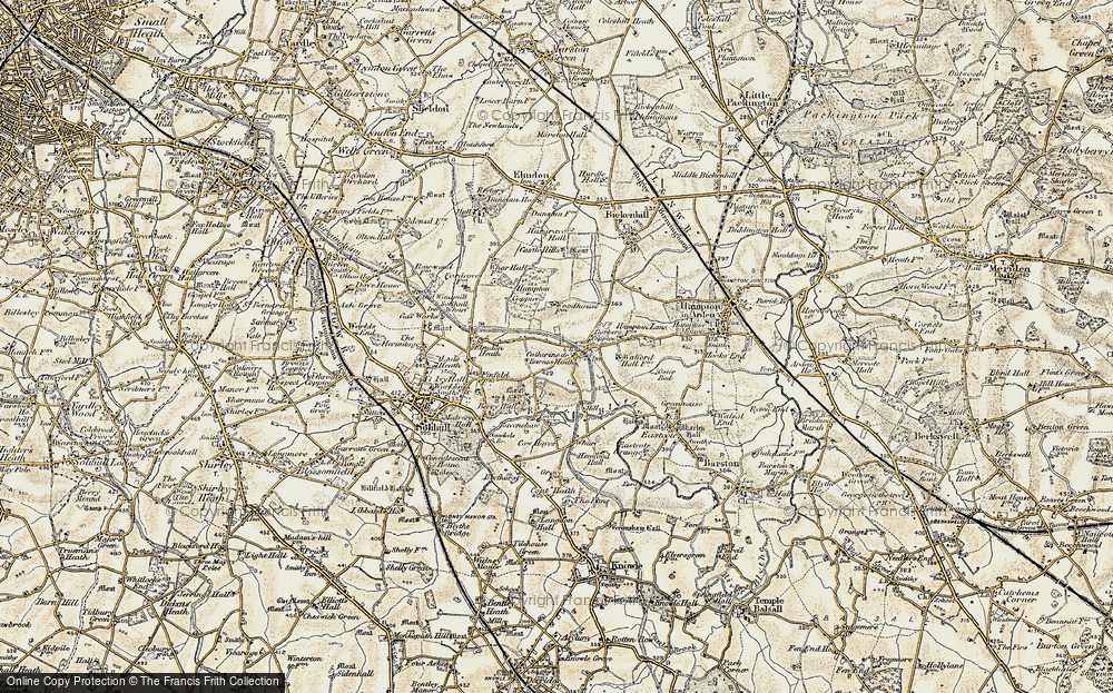 Old Map of Historic Map covering Barber's Coppice in 1901-1902