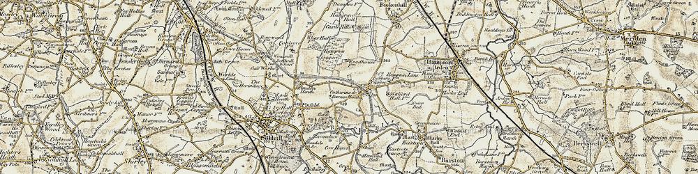 Old map of Catherine-de-Barnes in 1901-1902