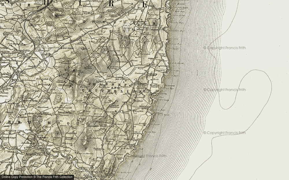 Old Map of Historic Map covering Todhead Point in 1908-1909