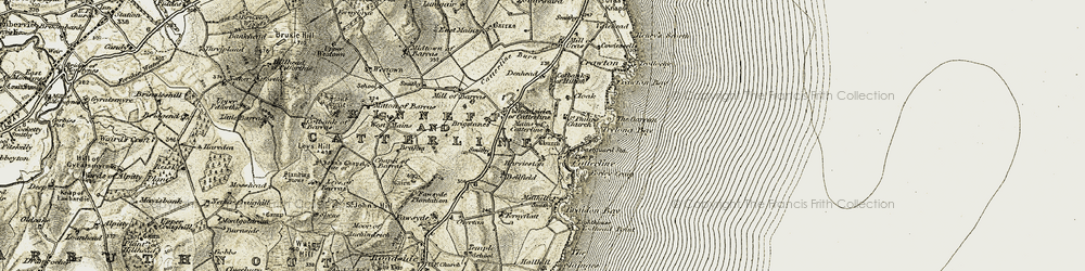 Old map of Todhead Point in 1908-1909