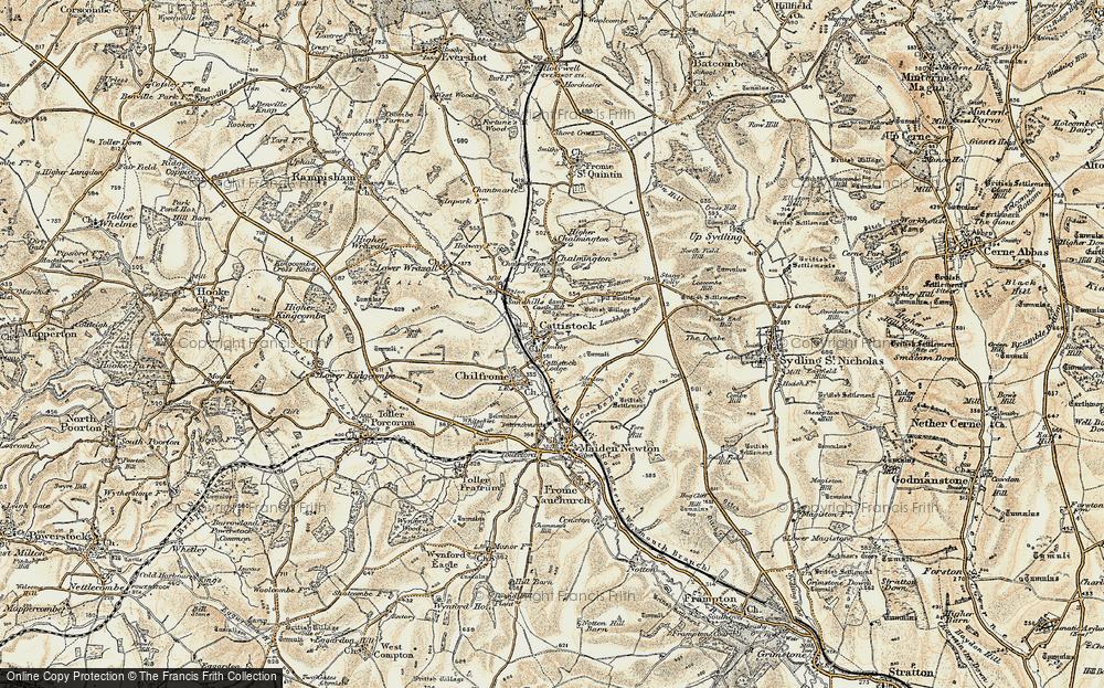 Old Map of Historic Map covering Lankham Bottom in 1899