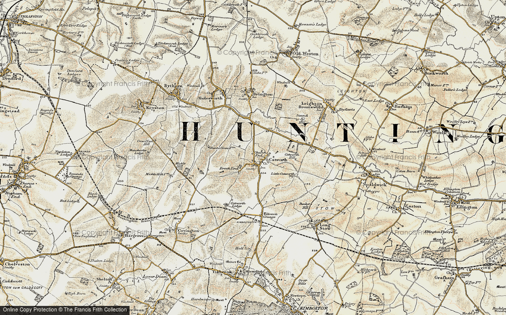 Old Map of Historic Map covering Tilbrook Grange in 1901