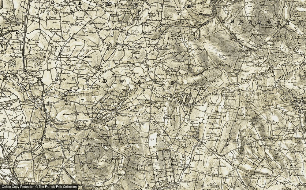Old Map of Historic Map covering Auchlinn in 1909-1910