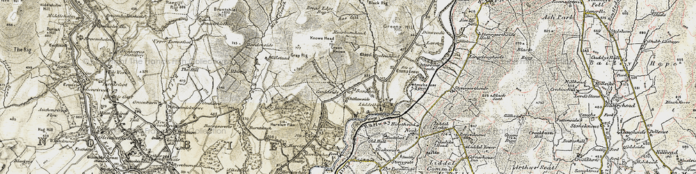Old map of Tinnisburn Forest in 1901-1904