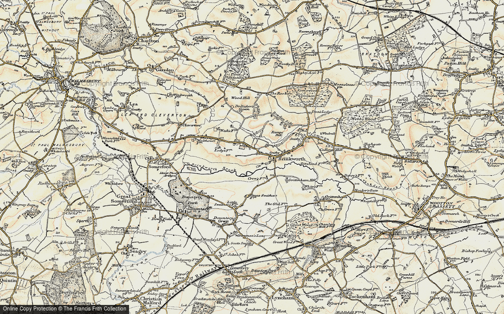 Old Map of Historic Map covering Woodbridge Brook in 1898-1899