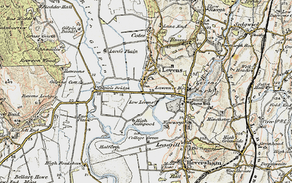 Old map of Levens Hall in 1903-1904