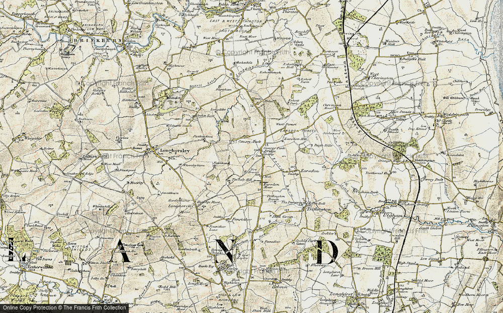 Old Map of Historic Map covering Tindale Hill in 1901-1903