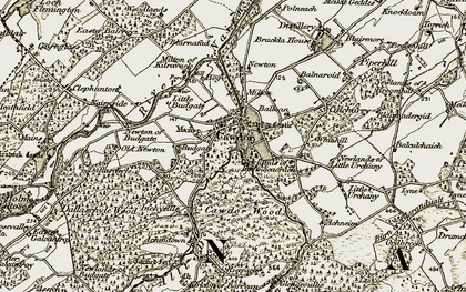 Old map of Cawdor in 1911-1912
