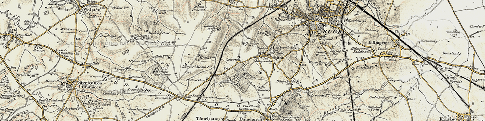 Old map of Cawston in 1901-1902