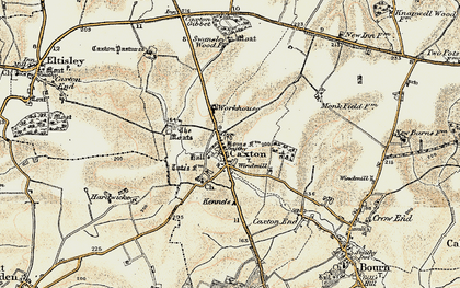 Old map of Caxton in 1899-1901