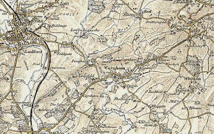 Old map of Ledwyche Brook in 1901-1902