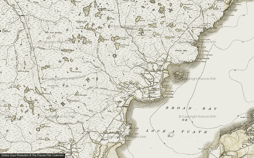 Old Map of Historic Map covering Abhainn Chuil in 1909-1911