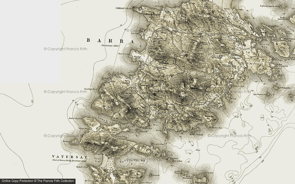 Old Map of Historic Map covering A' Chròig in 1911