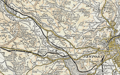 Old map of Cefn in 1899-1900