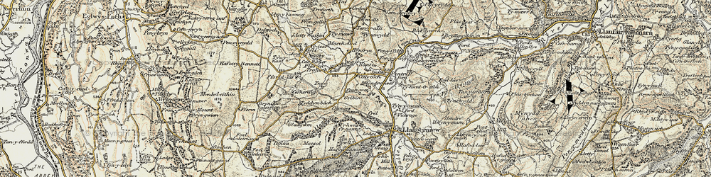 Old map of Ynys Rhys in 1902-1903