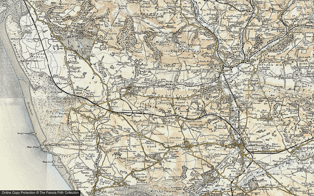 Old Map of Cefn Cribwr, 1900-1901 in 1900-1901