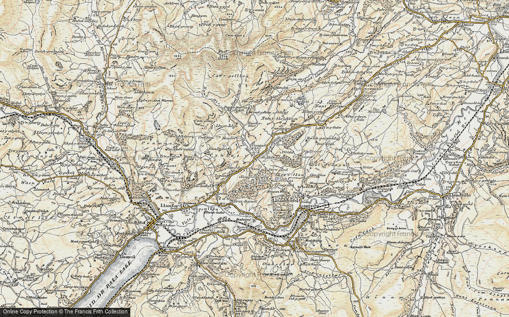 Old Map of Historic Map covering Afon Meloch in 1902-1903