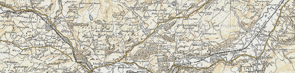 Old map of Afon Meloch in 1902-1903