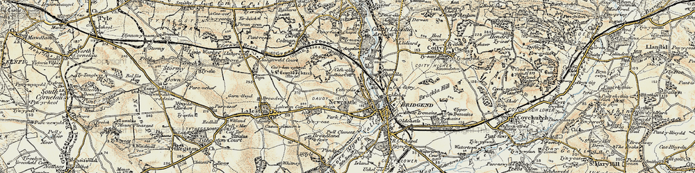 Old map of Cefn Glas in 1900