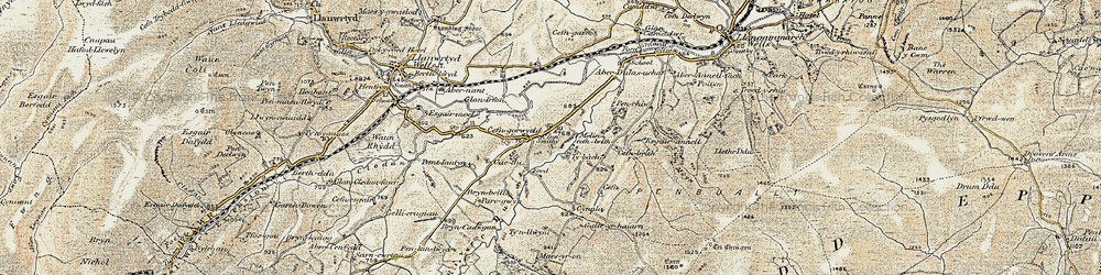 Old map of Abernant Lake in 1900-1902