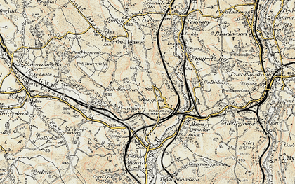 Old map of Cefn Hengoed in 1899-1900