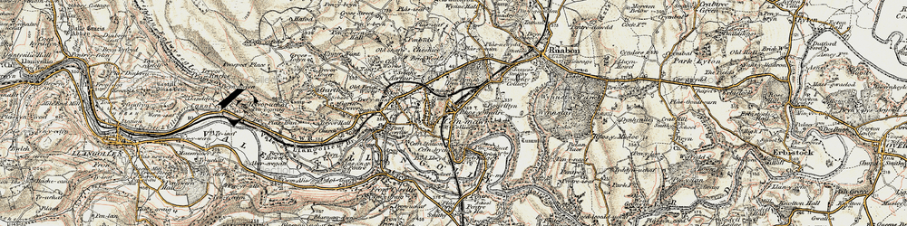 Old map of Cefn-mawr in 1902-1903