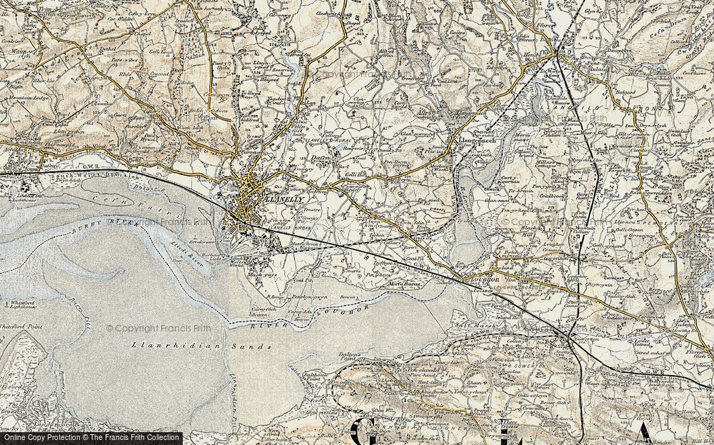 Old Map of Historic Map covering Tir Morfa in 1900-1901