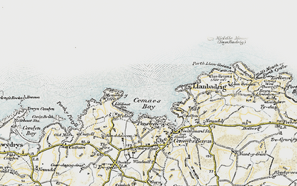 Old map of Cemaes Bay in 1903-1910