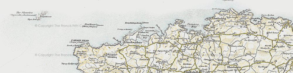 Old map of Cemlyn Bay in 1903-1910