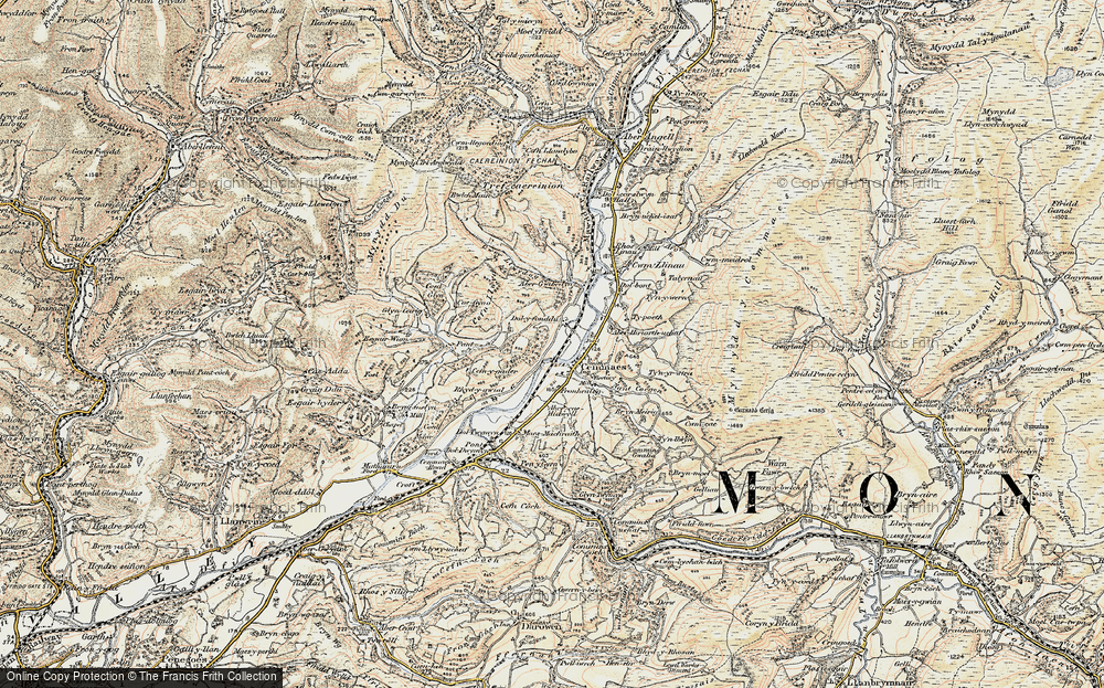 Old Map of Historic Map covering Aberhiriaeth in 1902-1903