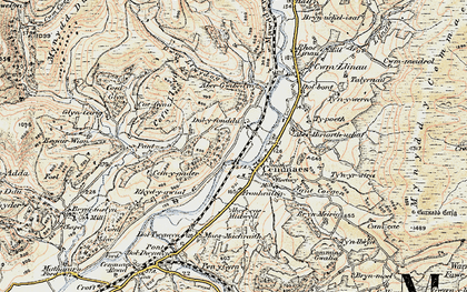 Old map of Aberhiriaeth in 1902-1903